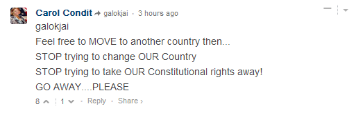 "CNN comment: ""Feel free to MOVE to another country then... STOP trying to change OUR Country STOP trying to take OUR Constitutional rights away! GO AWAY....PLEASE"""