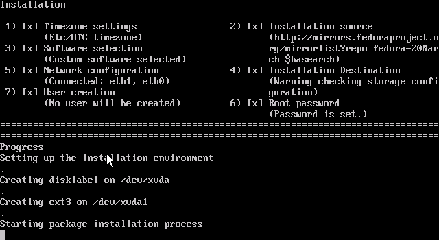Anaconda beginning installation of Fedora 20 in XenServer